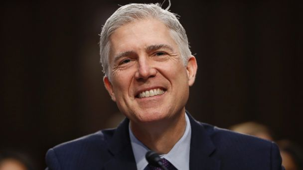 PHOTO: Neil Gorsuch smiles during his confirmation hearing before the Senate Judiciary Committee, March 21, 2017, in Washington