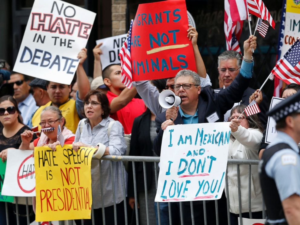 PHOTO: In this June 29, 2015, file photo, protesters gather across the street from a restaurant in Chicago before Republican presidential candidate Donald Trump spoke to members of the City Club of Chicago.