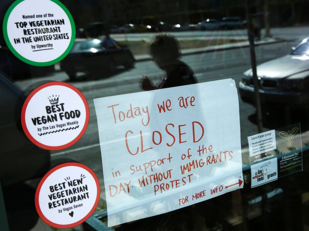 PHOTO: A sign alerts customers that restaurant VegeNation is closed in support of the Day Without Immigrants protest, Feb. 16, 2017, in Las Vegas.