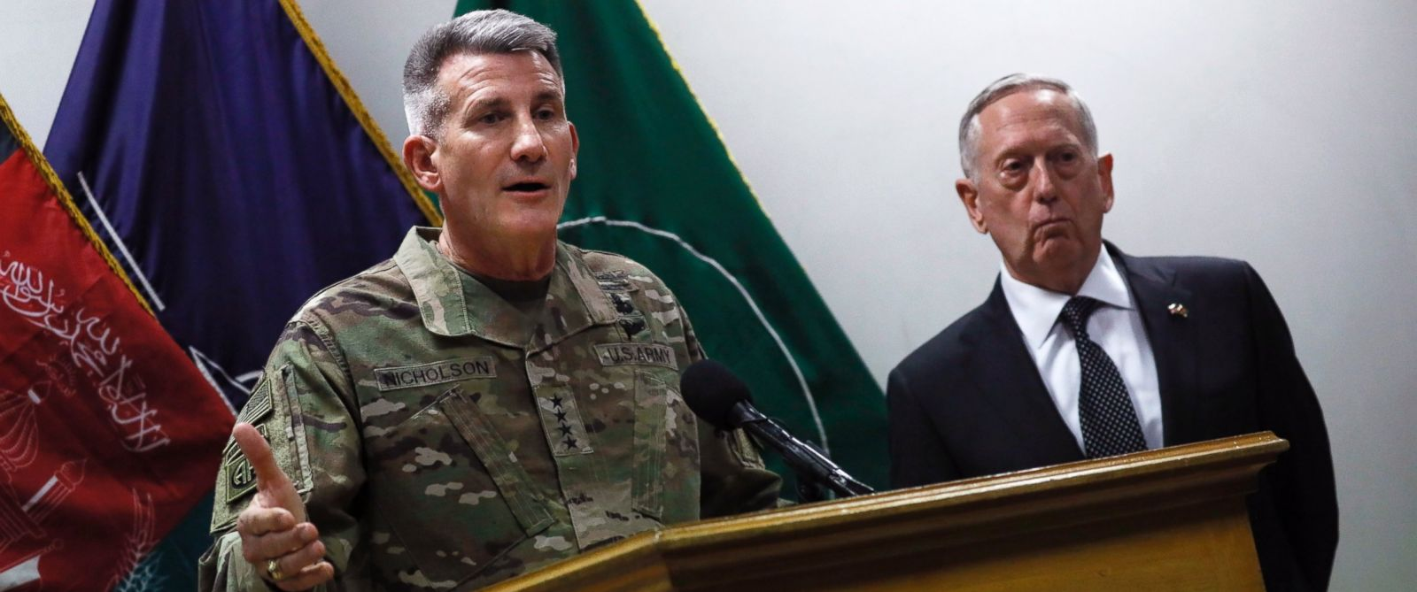 PHOTO: Defense Secretary James Mattis, right, and U.S. Army General John Nicholson, left, commander of U.S. Forces Afghanistan, hold a news conference at Resolute Support headquarters in Kabul, Afghanistan, April 24, 2017.