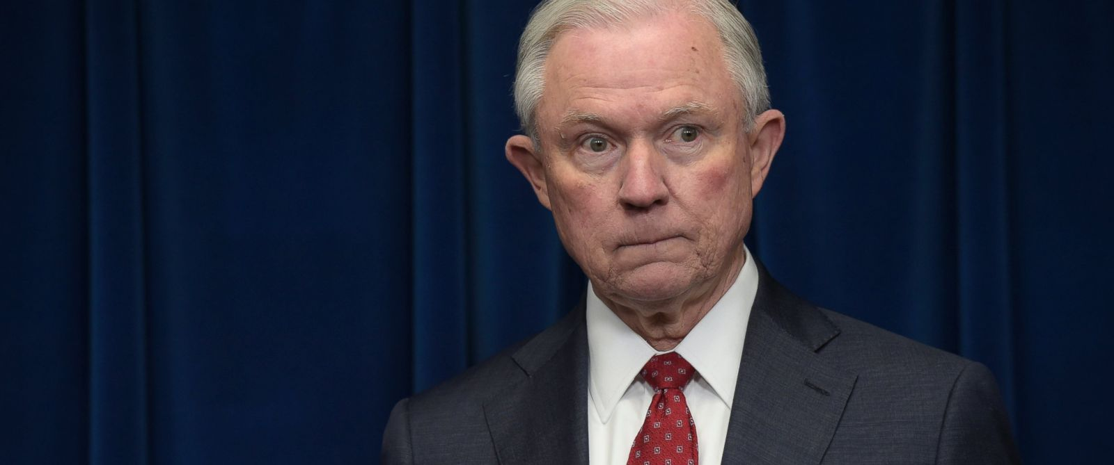 PHOTO: Attorney General Jeff Sessions waits to make a statement at the U.S. Customs and Border Protection office in Washington, March 6, 2017.