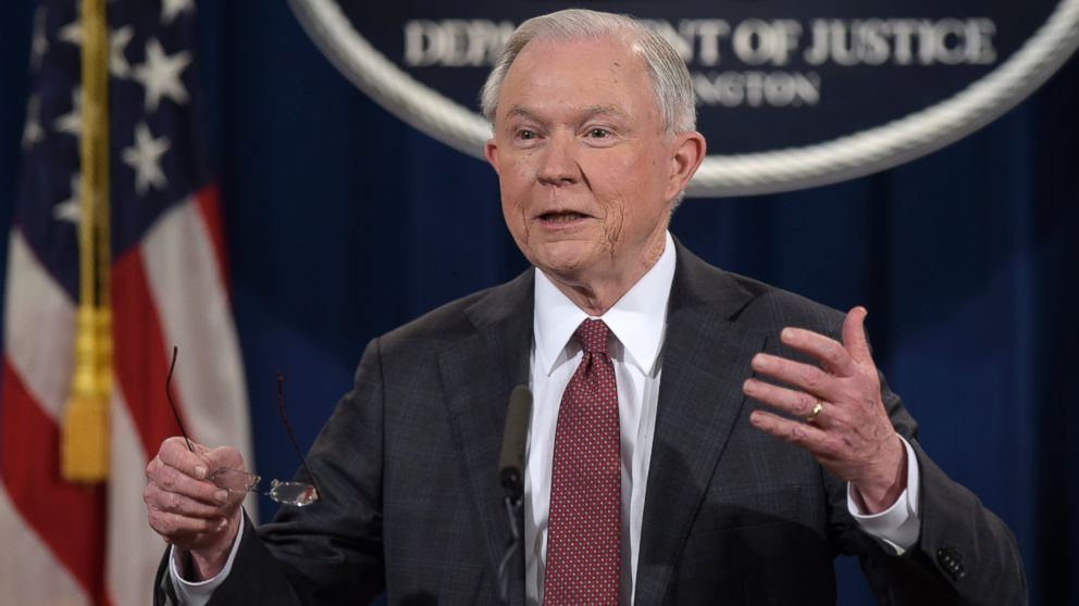 PHOTO: Attorney General Jeff Sessions speaks during a news conference at the Justice Department in Washington, March 2, 2017. Sessions said he will recuse himself from a federal investigation into Russian interference in the 2016 White House election.