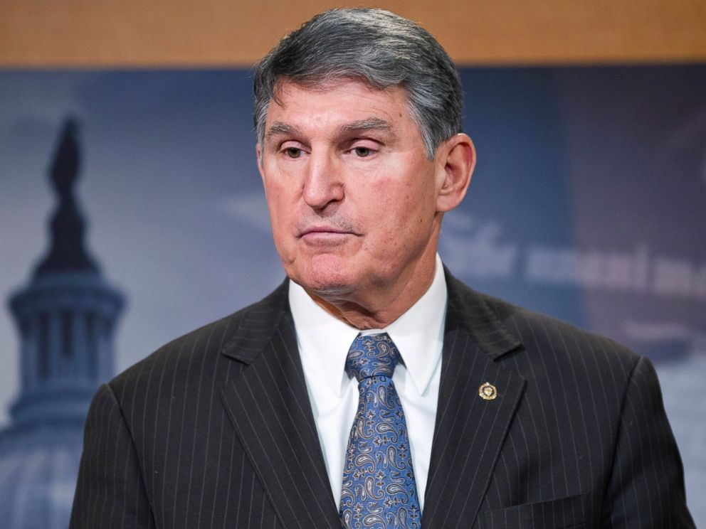 PHOTO: Sen. Joe Manchin, D-W.Va., speaks during a news conference on Capitol Hill in Washington.