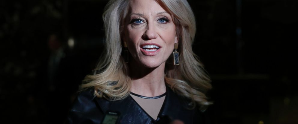 PHOTO: Kellyanne Conway, Donald Trumps campaign manager, speaks to media as she arrives at Trump Tower, Nov. 21, 2016 in New York City.