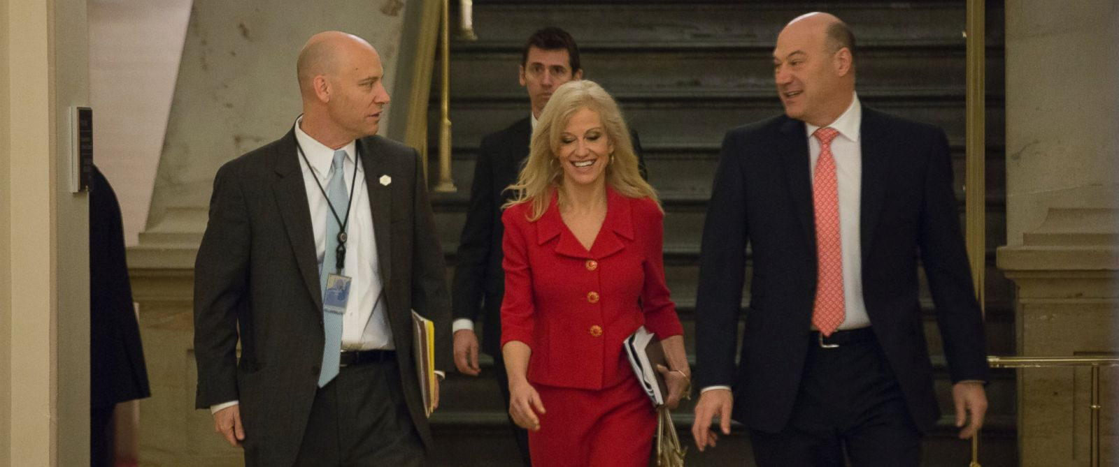 PHOTO: Marc Short (left), President Trumps director of legislative affairs, and Kellyanne Conway, White House adviser, arrive on Capitol Hill for the weekly GOP meeting, March 21, 2017.