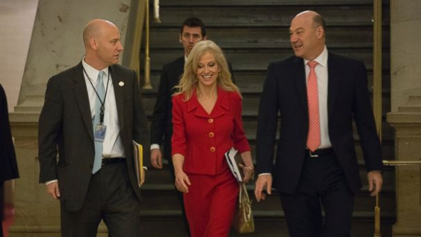 PHOTO: Marc Short (left), President Trump's director of legislative affairs, and Kellyanne Conway, White House adviser, arrive on Capitol Hill for the weekly GOP meeting, March 21, 2017.