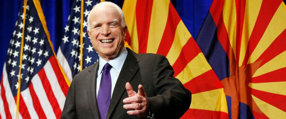 PHOTO: Sen. John McCain, smiles as he waves to supporters at his victory party prior to announcing his victory over Democratic Rep. Ann Kirkpatrick, Nov. 8, 2016, in Phoenix.