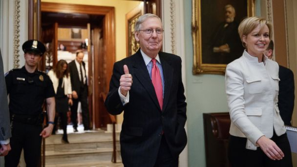 PHOTO: Senate Majority Leader Mitch McConnell signals a thumbs-up as he leaves the Senate chamber on Capitol Hill in Washington, April 6, 2017.