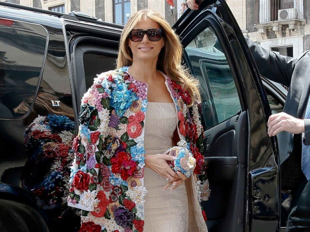 First lady Melania Trump steps out of a car as she arrives at Chierici Palace, part of a visit of the G7 first ladies in Catania, Italy.