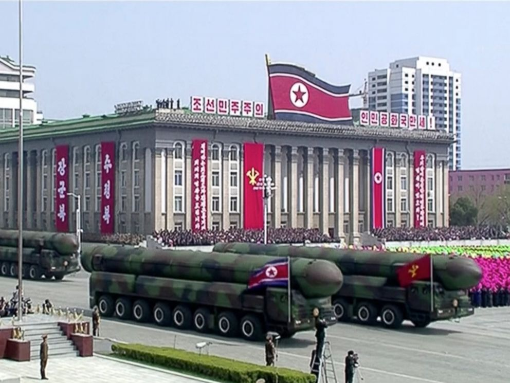 PHOTO: Missiles are displayed during a parade at Kim Il Sung Square in Pyongyang, April 15, 2017.