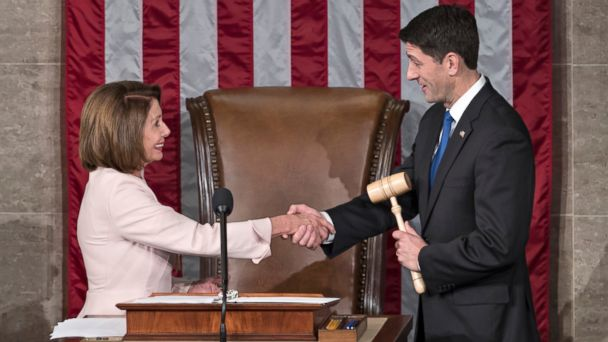 PHOTO: House Speaker Paul Ryan of Wis. shakes hands with House Minority Leader Nancy Pelosi of Calif., on Capitol Hill in Washington, Jan. 3, 2017, after he was re-elected to his leadership post, as the 115th Congress convened.