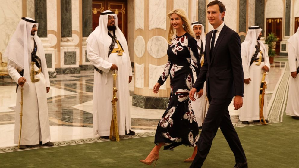 PHOTO: White House senior adviser Jared Kushner, right, walks with Ivanka Trump at the Royal Court Palace, Saturday, May 20, 2017, in Riyadh.