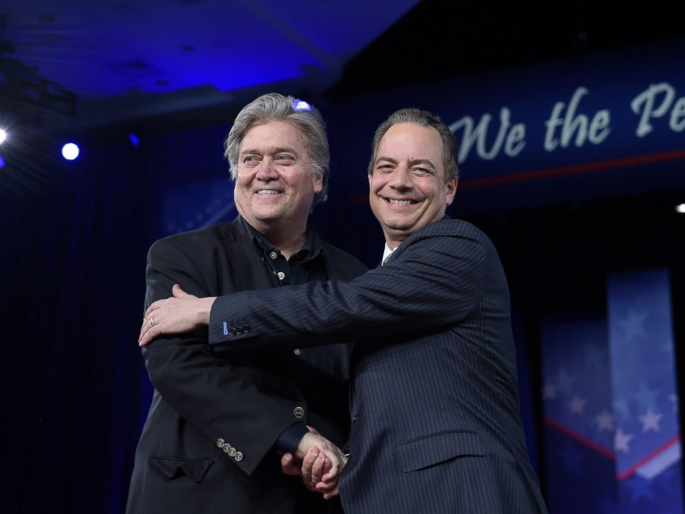 PHOTO: White House Chief of Staff Reince Priebus, right, hugs White House strategist Stephen Bannon as they are introduced to speak at the Conservative Political Action Conference (CPAC) in Oxon Hill, Maryland, Feb. 23, 2017.