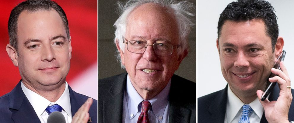 """PHOTO: Reince Priebus, left, Bernie Sanders and Jason Chaffetz to appear on """"This Week."""""""