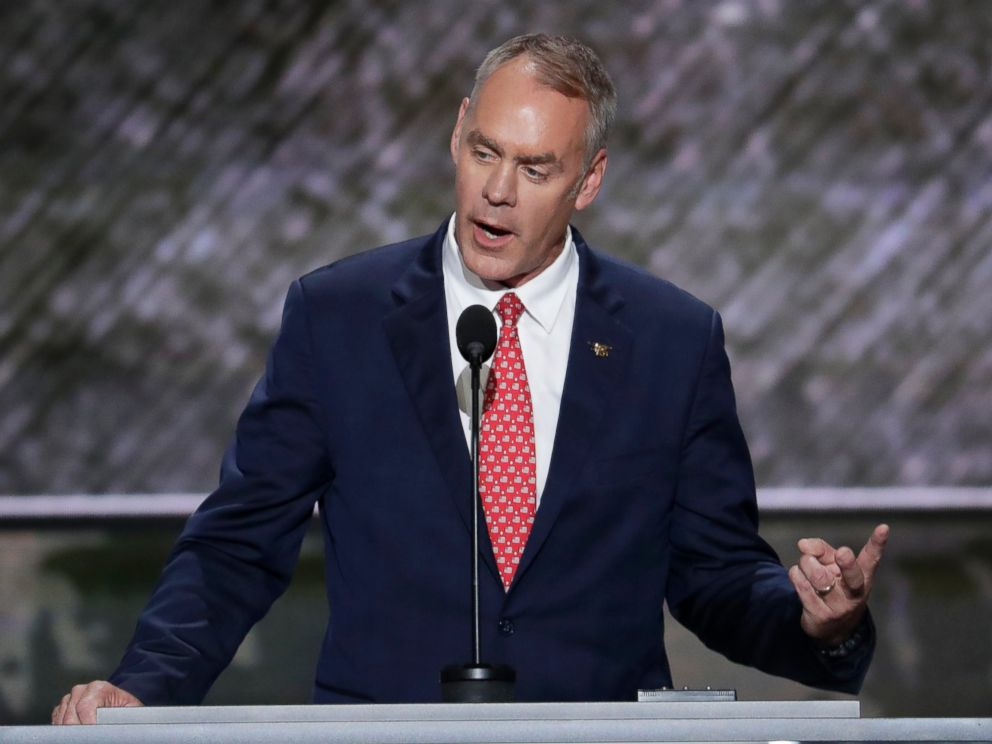 PHOTO: Rep. Ryan Zinke speaks during the opening day of the Republican National Convention in Cleveland, July 18, 2016.
