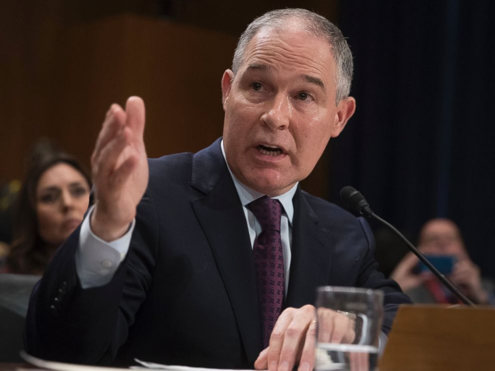 PHOTO: In this Jan. 18, 2017, file photo, Environmental Protection Agency Administrator nominee Scott Pruitt testifies on Capitol Hill in Washington.