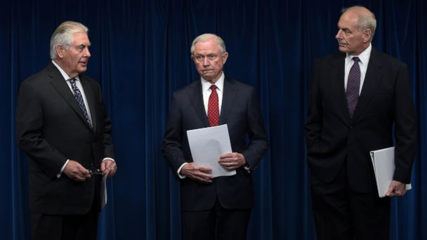 PHOTO: From left, Secretary of State Rex Tillerson, Attorney General Jeff Sessions and Homeland Security Secretary John Kelly arrive at a news at the U.S. Customs and Border Protection office, March 6, 2017, in Washington, DC.