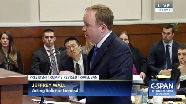 PHOTO: In this frame from C-SPAN video during the 9th Circuit Court of Appeals panel, Acting Solicitor General Jeffrey Wall speaks in Seattle, May 15, 2017.