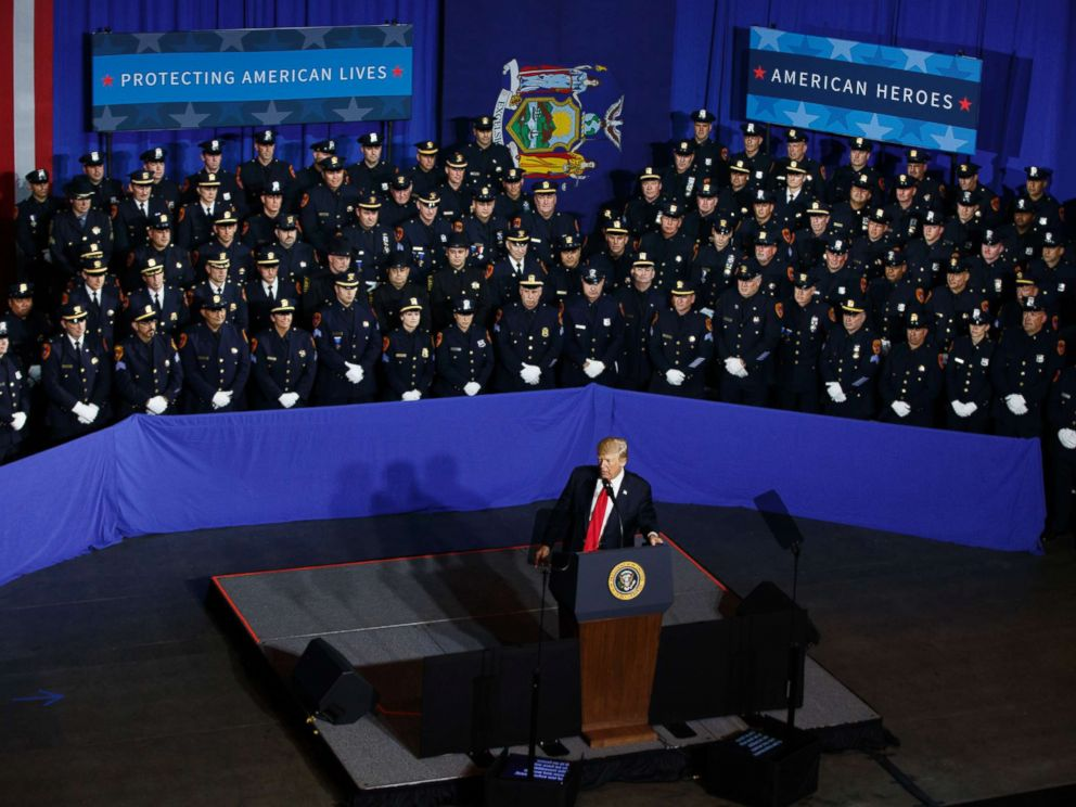 PHOTO: President Donald Trump speaks to law enforcement officials on the street gang MS-13, July 28, 2017, in Brentwood, N.Y.