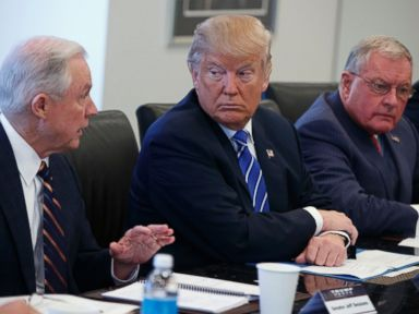 PHOTO: Donald Trump, center, and retired Gen. Keith Kellogg, right, listen as Sen. Jeff Sessions speaks during a national security meeting with advisors at Trump Tower, Oct. 7, 2016, in New York.