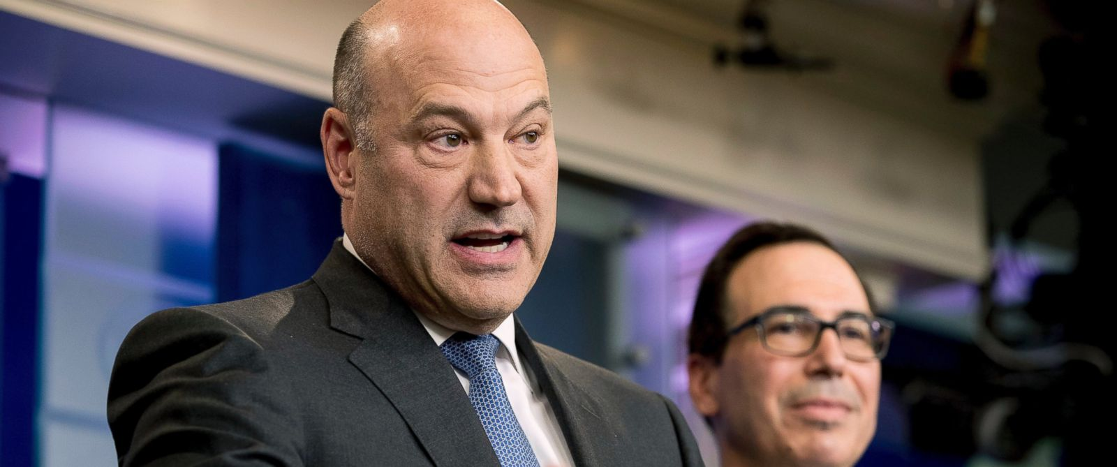 PHOTO: National Economic Director Gary Cohn, left, accompanied by Treasury Secretary Steve Mnuchin, speaks in the briefing room of the White House, in Washington, April 26, 2017.