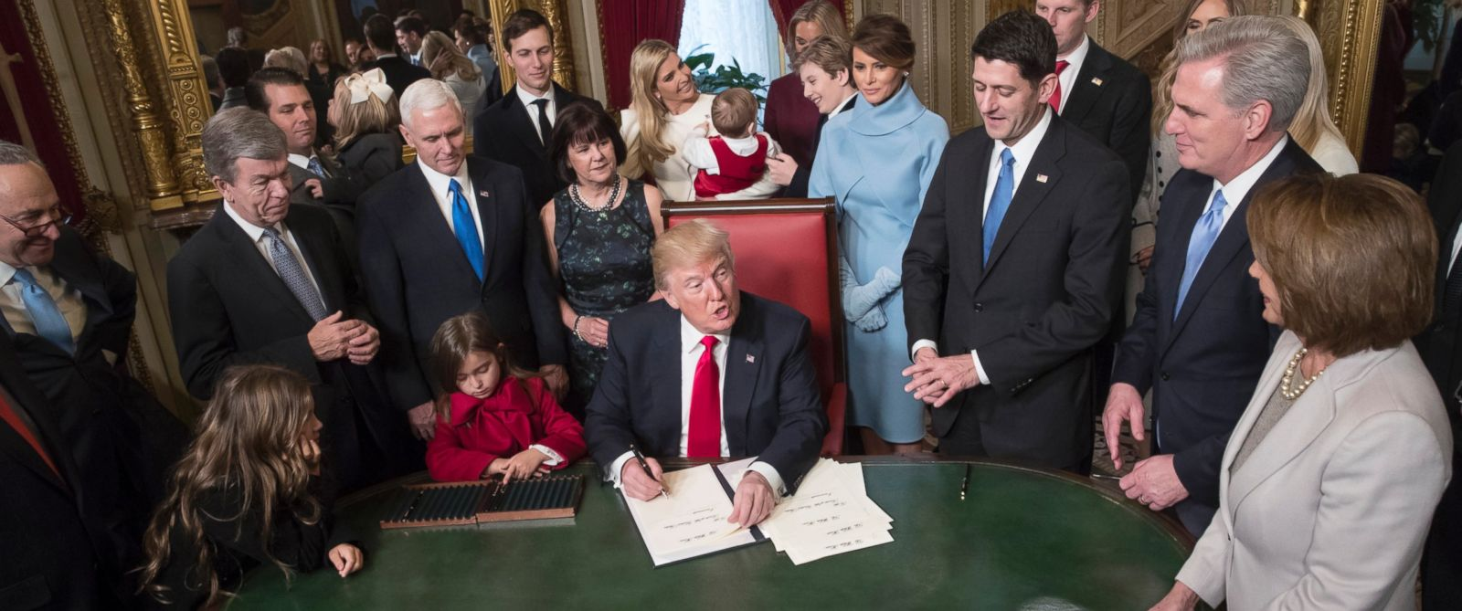 PHOTO: President Donald Trump is joined by the Congressional leadership and his family as he formally signs his cabinet nominations into law, in the Presidents Room of the Senate, at the Capitol in Washington, Jan. 20, 2017.