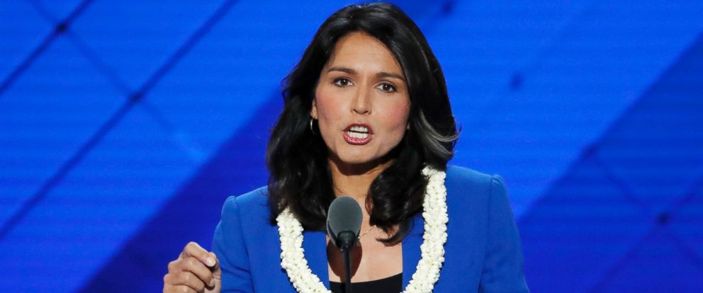 PHOTO: Rep. Tulsi Gabbard speaks at the Democratic National Convention in Philadelphia, July 26, 2016.