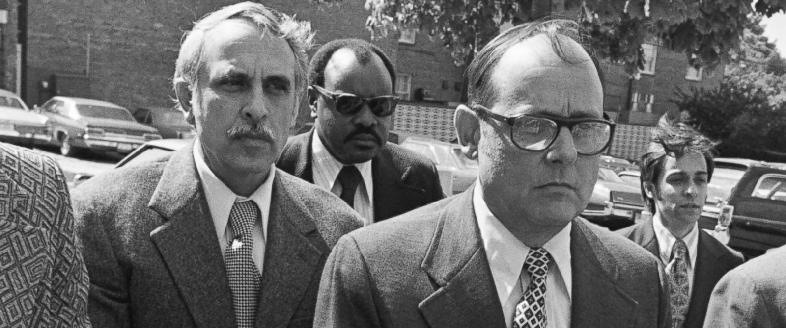 PHOTO: Convicted Watergate defendants Eugenio R. Martinez and Bernard L. Barker arrive handcuffed at the Senate Office Building before their meeting with special investigators in Washington, May 11, 1973.