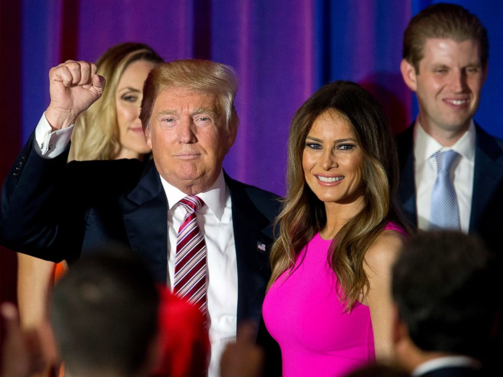 PHOTO: Republican presidential candidate Donald Trump gestures to supporters as he leaves the stage with his wife Melania after a news conference at the Trump National Golf Club Westchester, June 7, 2016, in Briarcliff Manor, New York.
