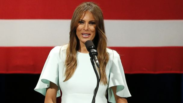 PHOTO: Melania Trump, wife of Republican presidential candidate, Donald Trump, addresses the crowd during a rally at the Milwaukee Theatre, April 4, 2016, in Milwaukee.