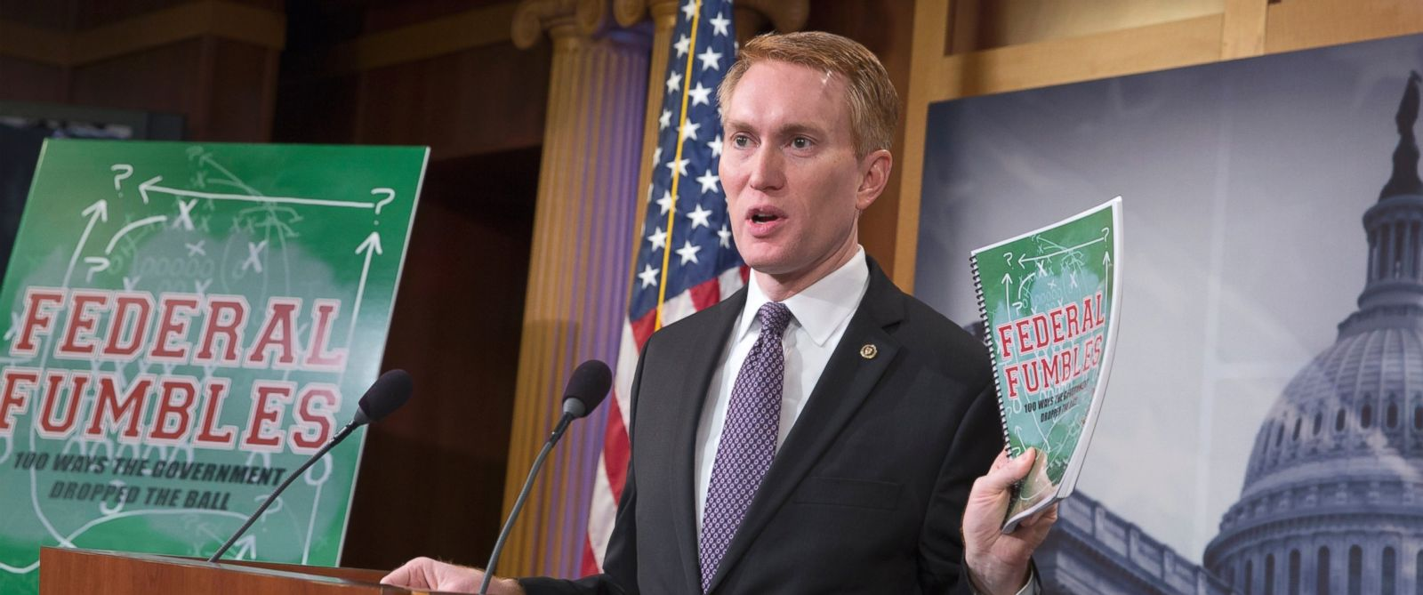 "PHOTO: Sen. James Lankford holds a news conference on Capitol Hill in Washington, Nov. 30, 2015, to announce the release of his federal government waste and solutions report titled ""Federal Fumbles: 100 Ways the Government Dropped the Ball."""