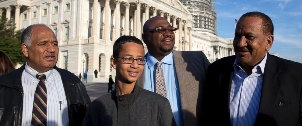 PHOTO: Ahmed Mohamed accompanied by his family takes part in a news conference on Capitol Hill in Washington, Oct. 20, 2015.