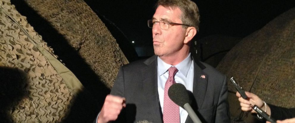 PHOTO: Defense Secretary Ash Carter speaks to reporters in Irbil, Iraq, Thursday, Dec. 17, 2015.