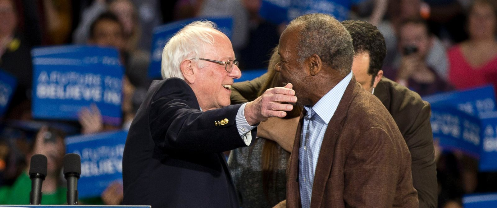PHOTO: Democratic presidential candidate Sen. Bernie Sanders, left, embraces actor Danny Glover, during a rally, Feb. 21, 2016, in Greenville, S.C.