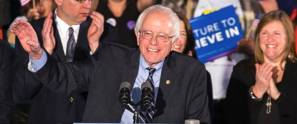 PHOTO: Bernie Sanders smiles as he speaks at his primary night rally, Feb. 9, 2016, in Concord, N.H.
