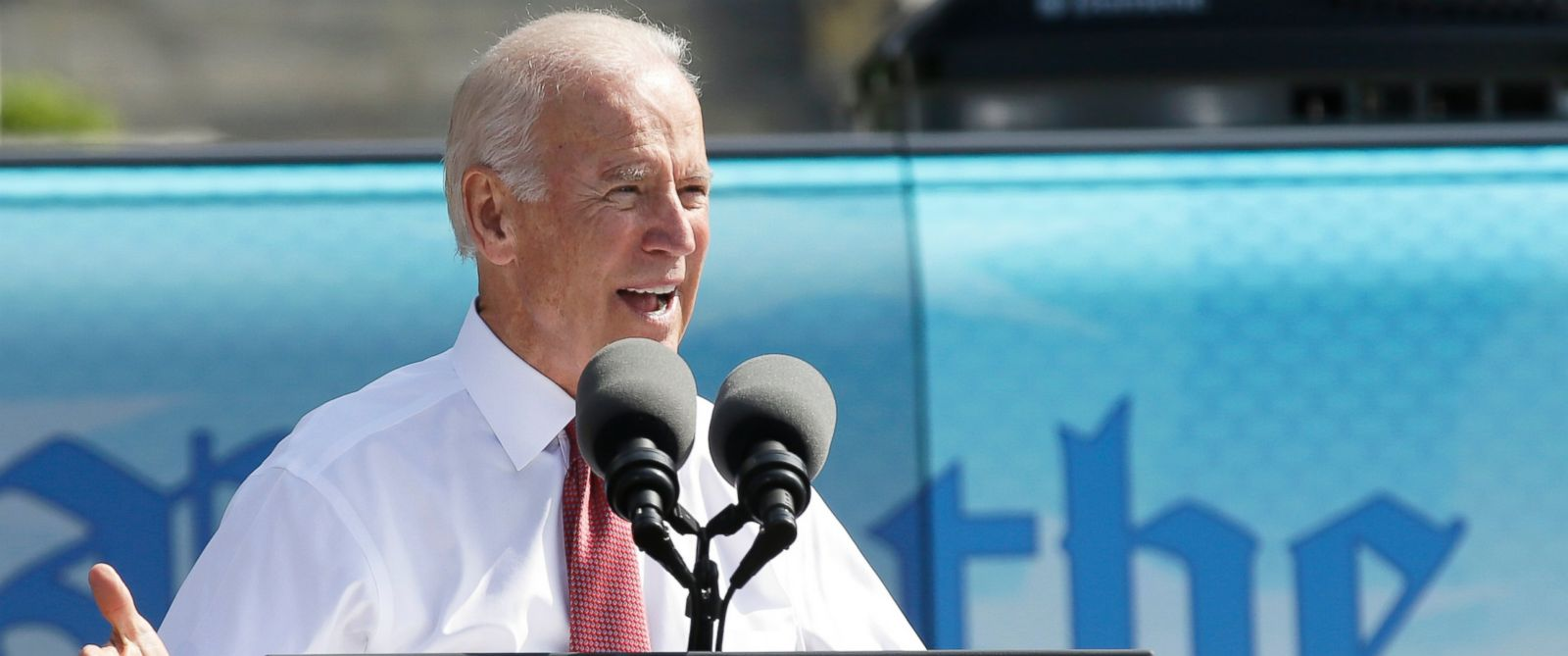 PHOTO: Vice President Joe Biden speaks during the kickoff of the Nuns on the Bus tour, Sept. 17, 2014, at the Statehouse in Des Moines, Iowa.