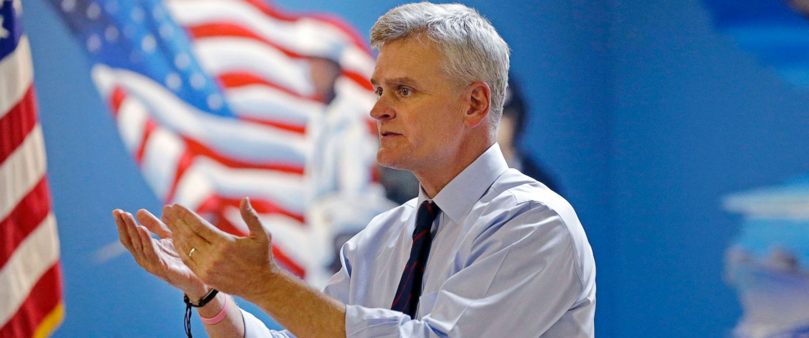 PHOTO: Senate candidate, Rep. Bill Cassidy, R-La., speaks at a campaign stop at VFW Post 5951in Bossier City, La., Monday, Oct. 13, 2014.