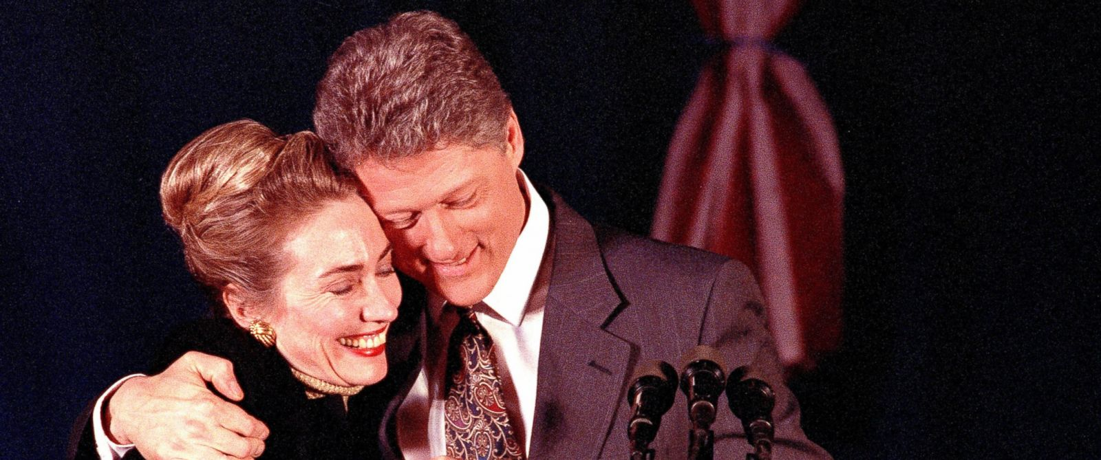 PHOTO: Democratic presidential hopeful Bill Clinton of Arkansas hugs his wife Hillary at Clintons election night party at the Merrimack Inn, in Merrimack, N.H., Feb. 18, 1992.