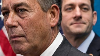 PHOTO: House Speaker John Boehner of Ohio, left,  joined by House Budget Committee Chairman Rep. Paul Ryan, R-Wis., takes reporters questions, on Capitol Hill in Washington, Dec. 11, 2013.