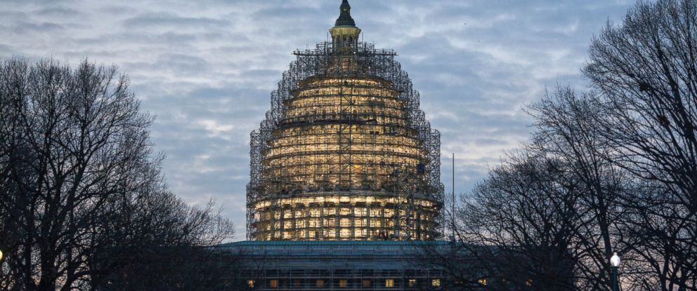 PHOTO: The Capitol Dome in Washington is illuminated early, Jan. 12, 2016, as President Barack Obama prepares to deliver his final State of the Union address before Congress.