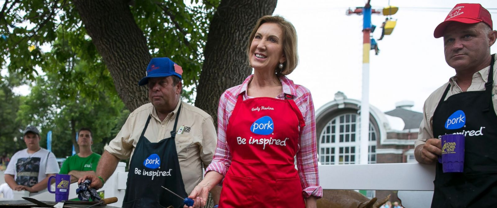 PHOTO: Republican presidential candidate Carly Fiorina checks to see if the pork chops are done at the Iowa Pork Producers Association site at the Iowa State Fair in Des Moines, Iowa, Aug. 17, 2015.