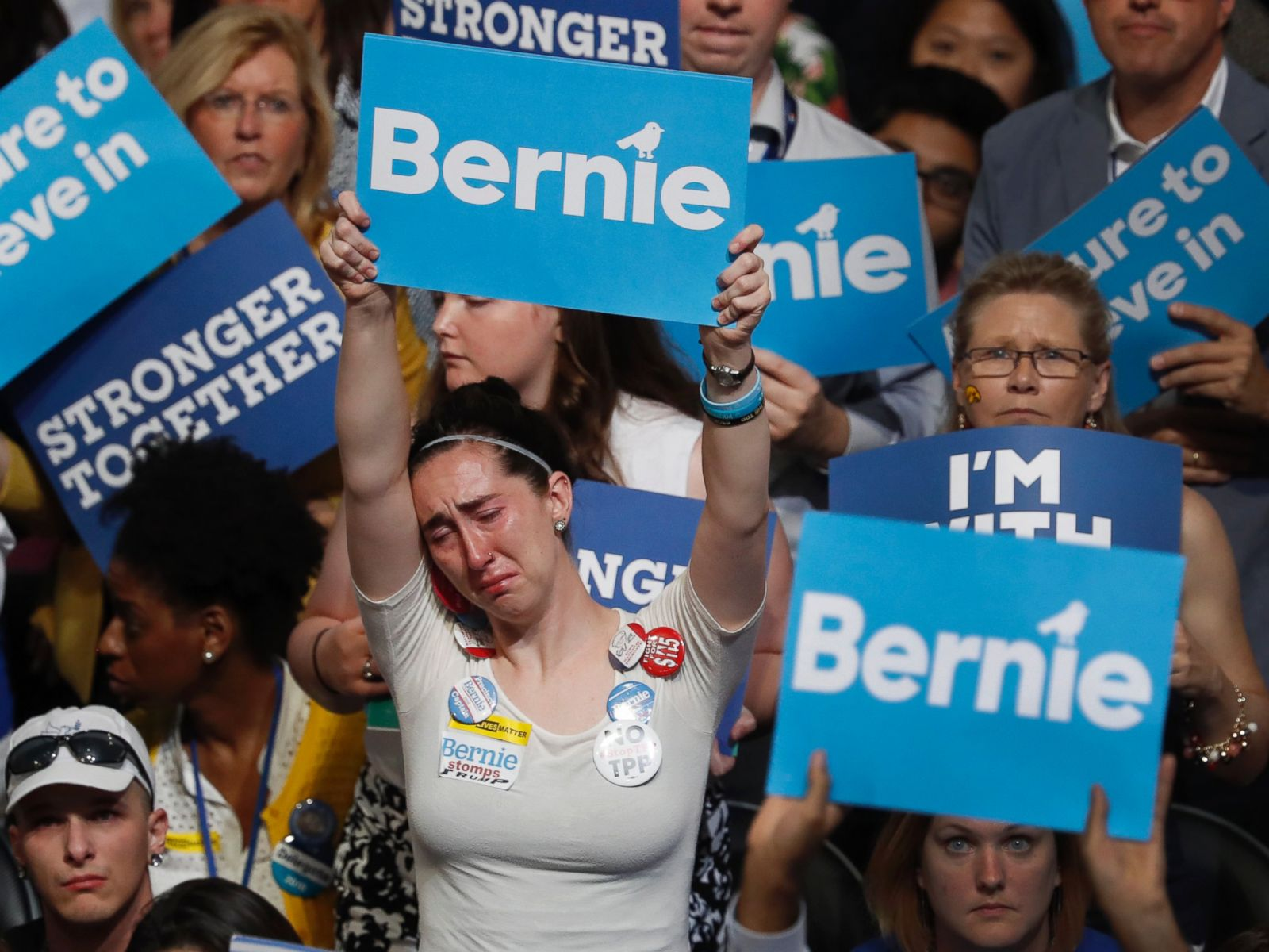 PHOTO: A disappointed supporter for Former Democratic presidential candidate, Sen. Bernie Sanders, holds up her sign during the first day of the Democratic National Convention in Philadelphia , July 25, 2016.
