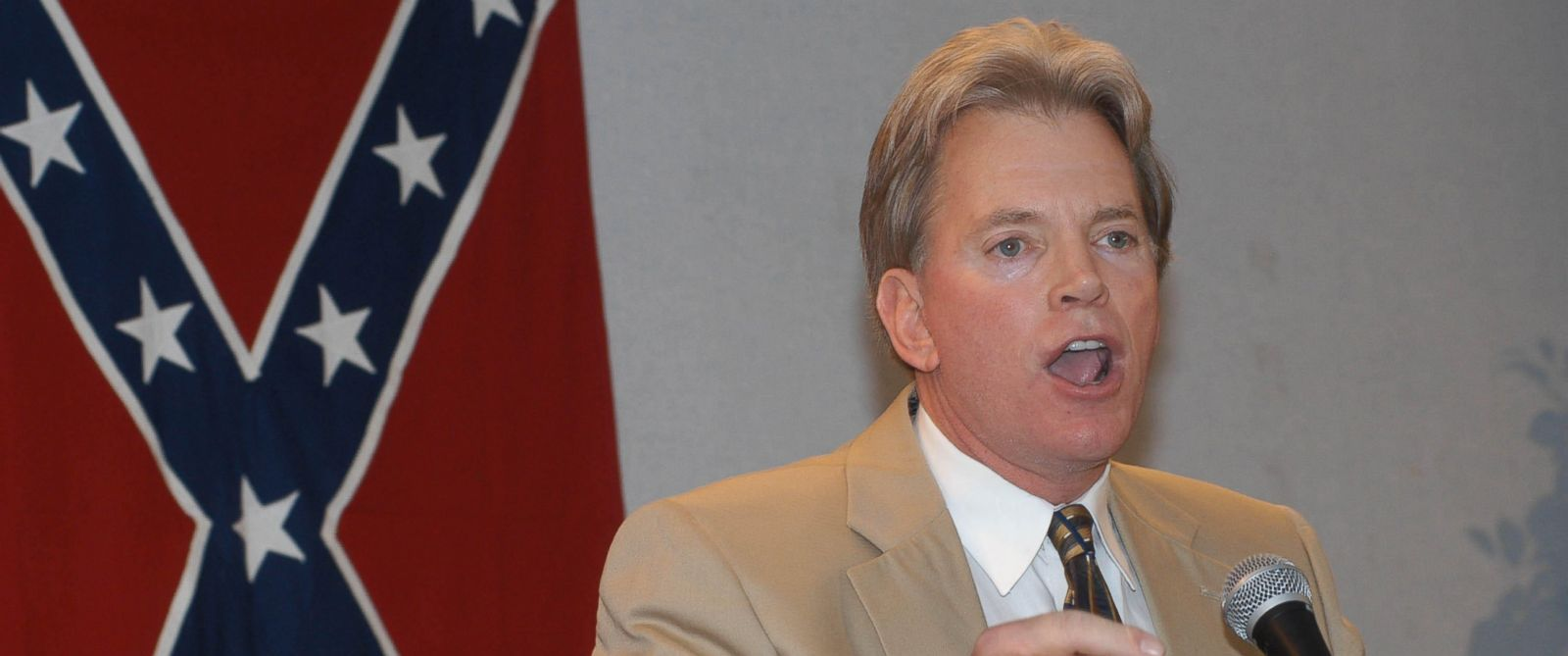 PHOTO: Former Ku Klux Klan leader David Duke speaks to supporters at a reception, May 29, 2004, in Kenner, Louisiana.
