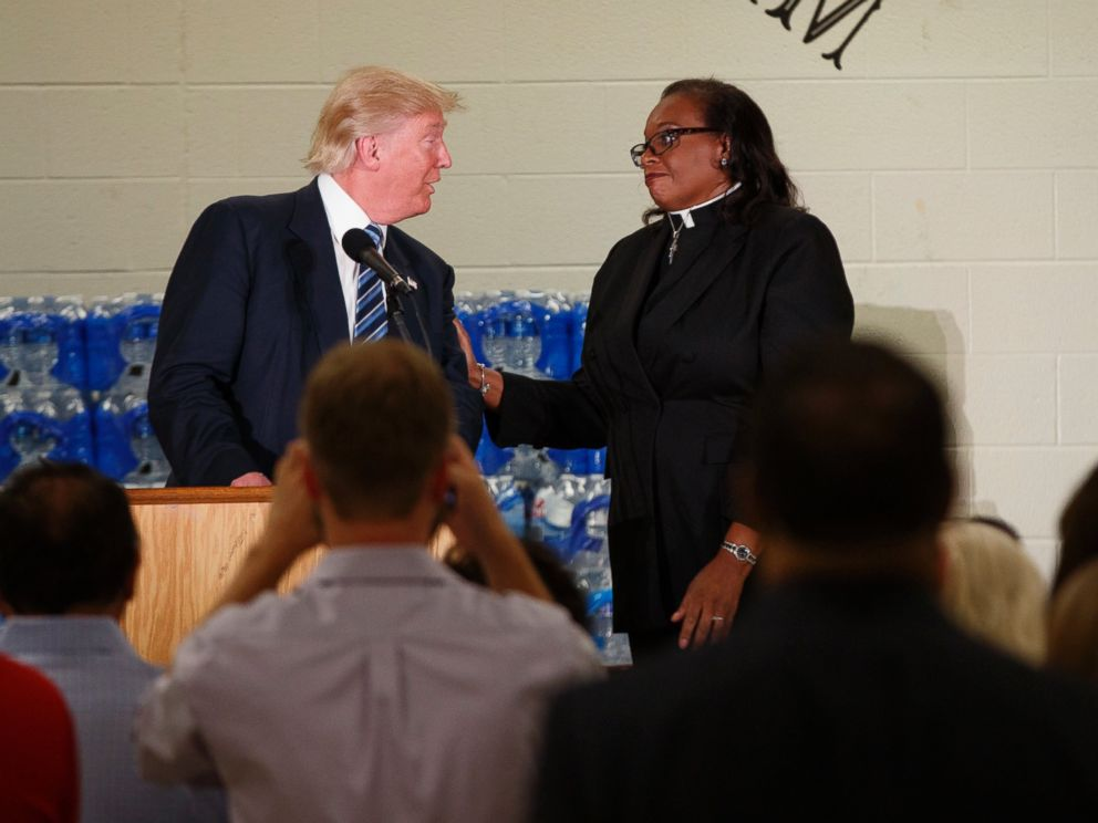 PHOTO: Rev. Faith Green Timmons interrupts Republican presidential candidate Donald Trump as he spoke during a visit to Bethel United Methodist Church, Sept. 14, 2016, in Flint, Michigan.