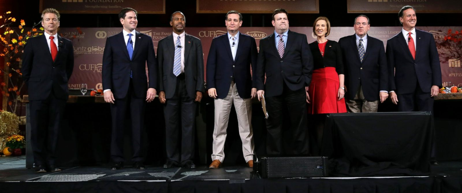 PHOTO: Republican presidential candidates, from left, Rand Paul, Marco Rubio, Ben Carson, Ted Cruz, moderator Frank Luntz, Carly Fiorina, Mike Huckabee and Rick Santorum at the Presidential Family Forum, Nov. 20, 2015, in Des Moines, Iowa.