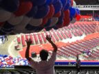 PHOTO: William Miranda positions balloons in preparation for the Republican National Convention at Quicken Loans Arena, July 15, 2016, in Cleveland.