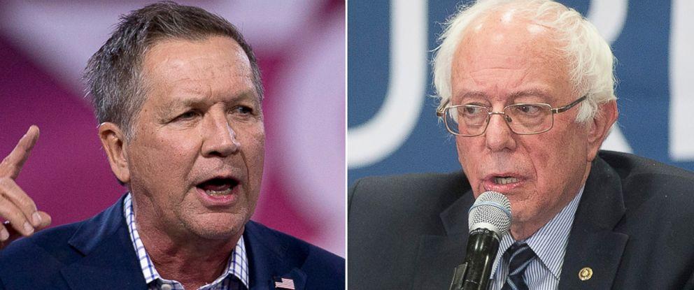 PHOTO: Gov. John Kasich of Ohio and Sen. Bernie Sanders.