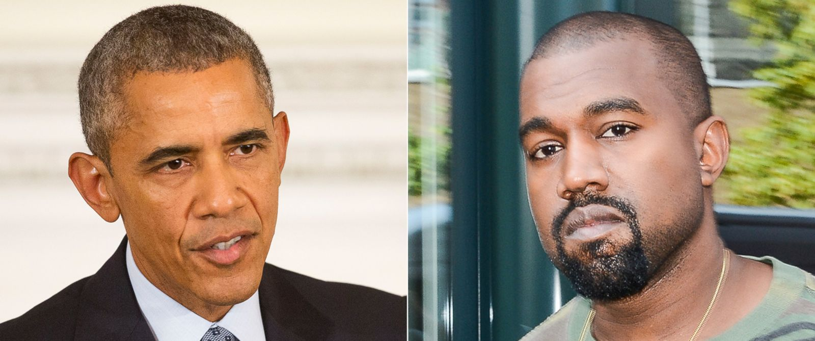 PHOTO: (L-R) President Barack Obama in Washington, Oct. 2, 2015. | Kanye West in New York City, Sept. 9, 2015.