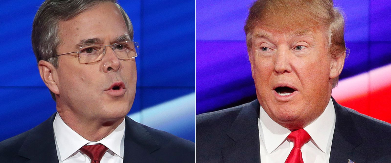PHOTO: Jeb Bush and Donald Trump spar at the CNN Republican presidential debate at the Venetian Hotel & Casino, Dec. 15, 2015, in Las Vegas.