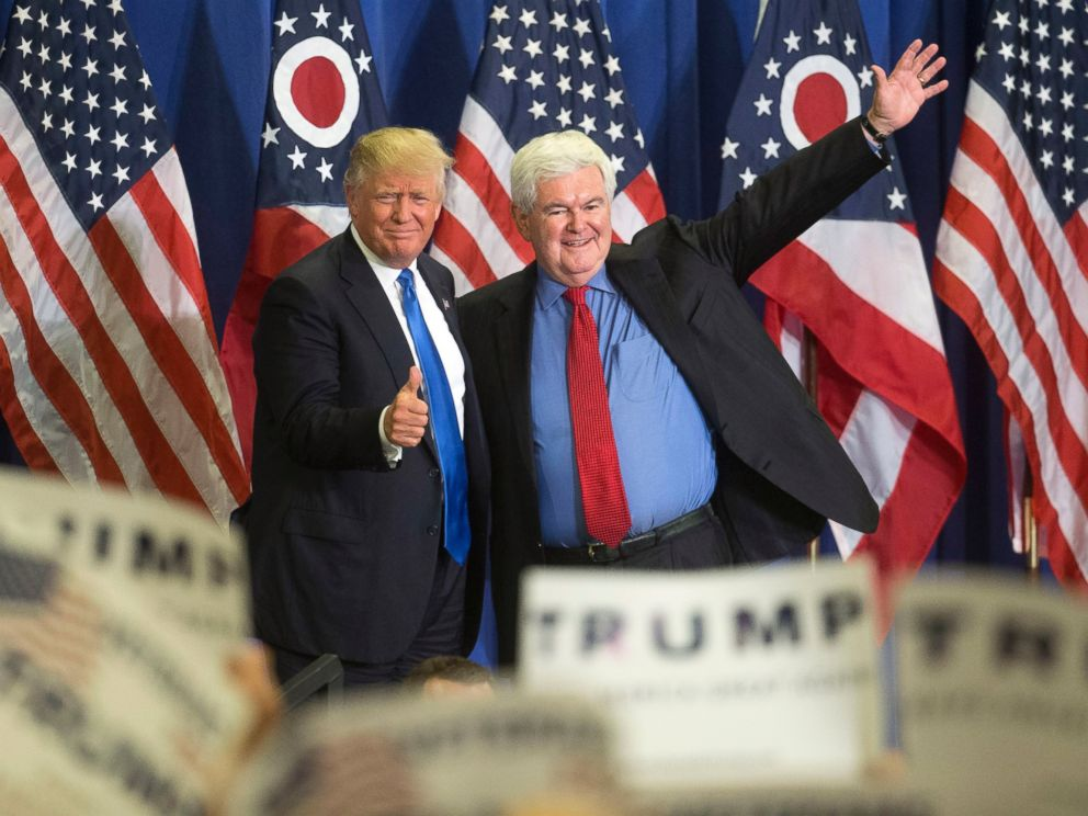 PHOTO: Republican presidential candidate Donald Trump, left, and former House Speaker Newt Gingrich, right, acknowledge the crowd during a campaign rally at the Sharonville Convention Center, July 6, 2016, in Cincinnati.